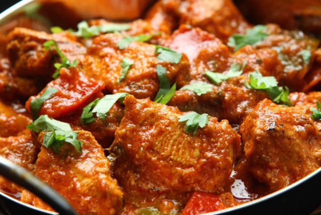 Indian chicken curry on a plate
